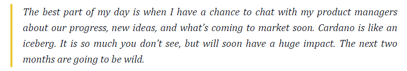 Charles Hoskinson, the CEO of IOHK Said