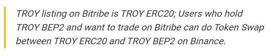TROY listing on Bitribe